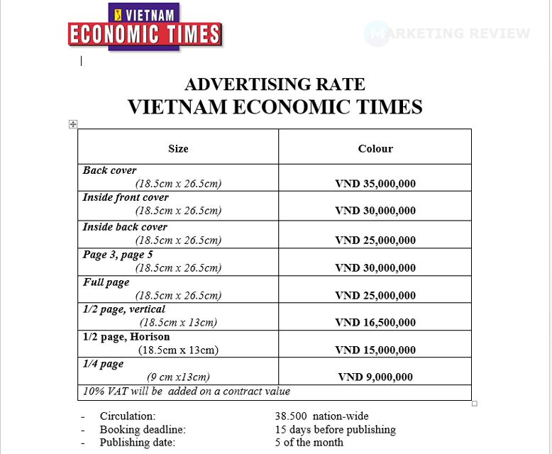 Bảng giá quảng cáo Tạp chí Vietnam Economic Times